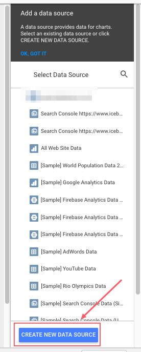 Google Data Studio Data Source Selection