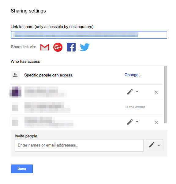 Google Data Studio Sharing options