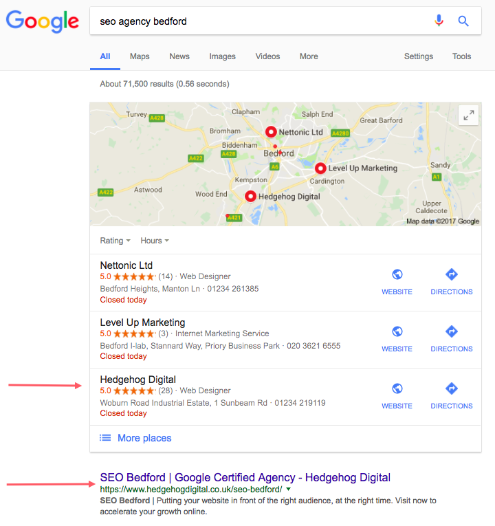 google local pack of geo-targeted results