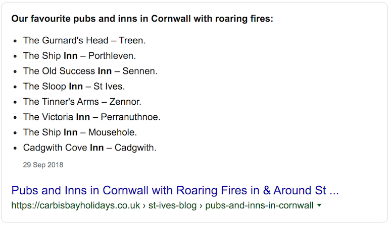 featured snippets - inns with roaring fires (1)