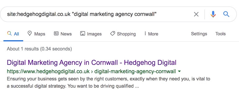 Google results page of local SEO qualifier keyword 'digital marketing agency Cornwall' showing no duplicate content from Hedgehog's website