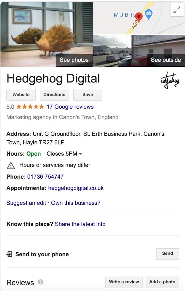 Google My Business side panel for Hedgehog Digital