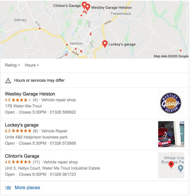 Google local pack listings for 'garages near me search'