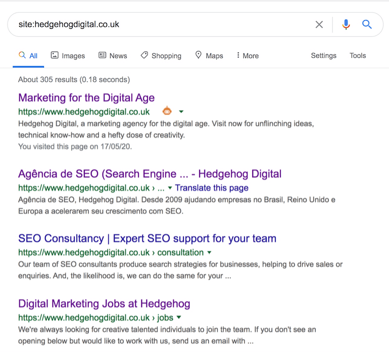 Google results page showing all indexed pages of www.hedgehogdigital.co.uk